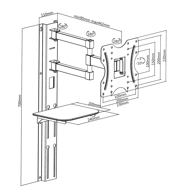 Univerzální sestava polohovatelného držáku na Tv, police a závěsné lišty - Fiber Mounts SET771