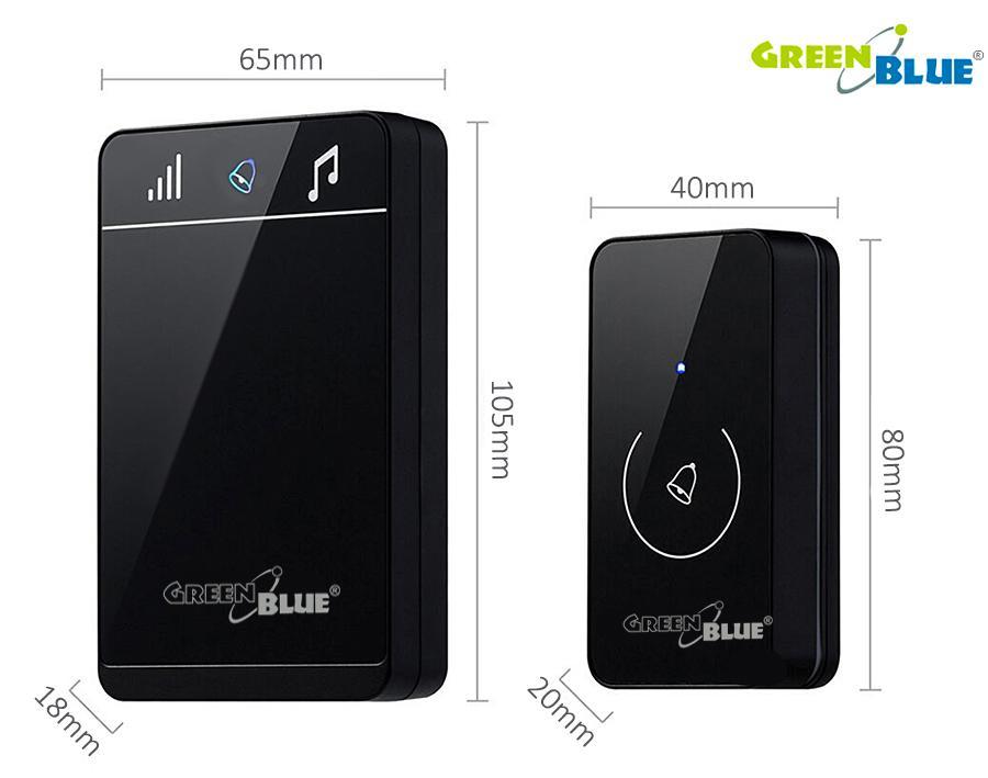 Luxusní bezdrátový zvonek, dotykový, dosah 150m, 52 melodií, nastavení hlasitosti, černá lesklá barva - GreenBlue GB111