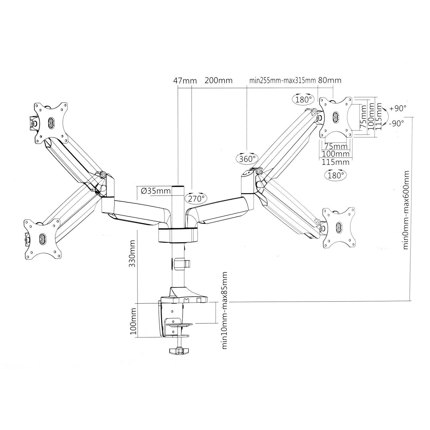 Profesionální výškově polohovatelný, otočný, sklopný a délkově nastavitelný držák na 2 monitory 13-32 palců - Fiber Mounts SDM766