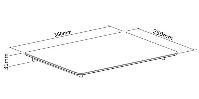 Polička na zeď s nosností 8kg, tvrzené sklo s rozměry 360x250x5mm, barva černá - Fiber Mounts NICE629
