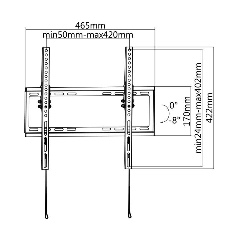 Kvalitní levný držák pro uchycení televize na stěnu s možností náklonu až 8 stupňů, vzdálenost 21mm, VESA standard, zajištění Tv systémem západek, nosnost 35kg, instalační materiál - Fiber Novelty ARBER