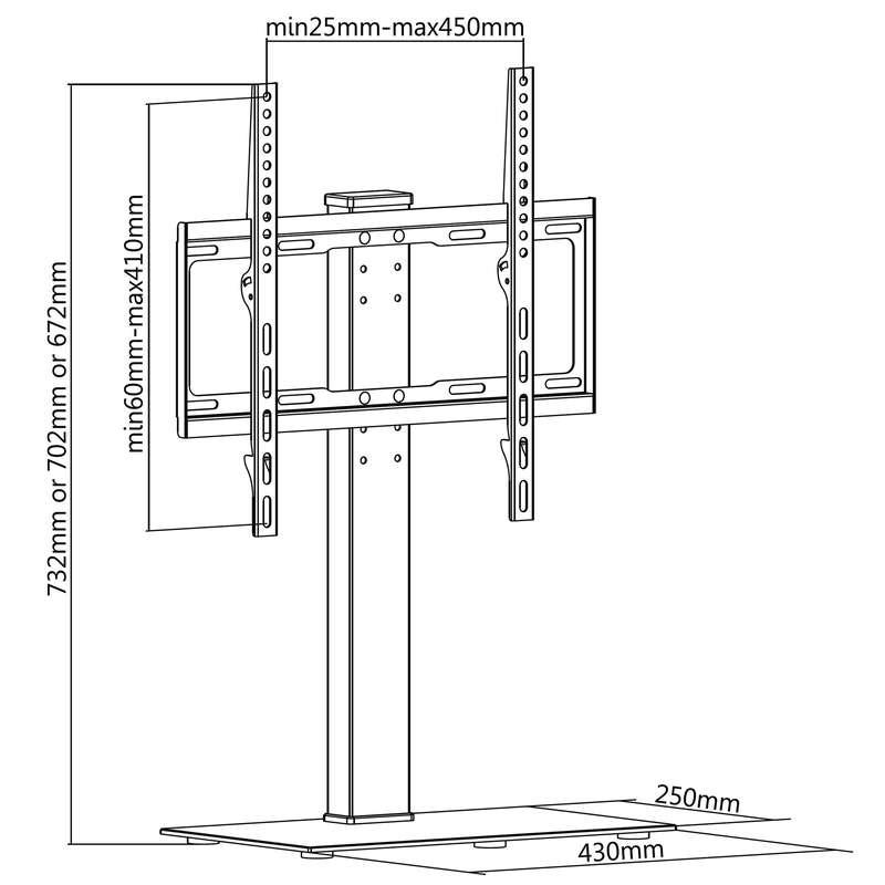 Stojánek / podstava na televizi 32-55 palců v krásném designu, výškově nastavitelný, nosnost 30kg - Fiber Novelty FN-P3 / drzakyastolky.cz