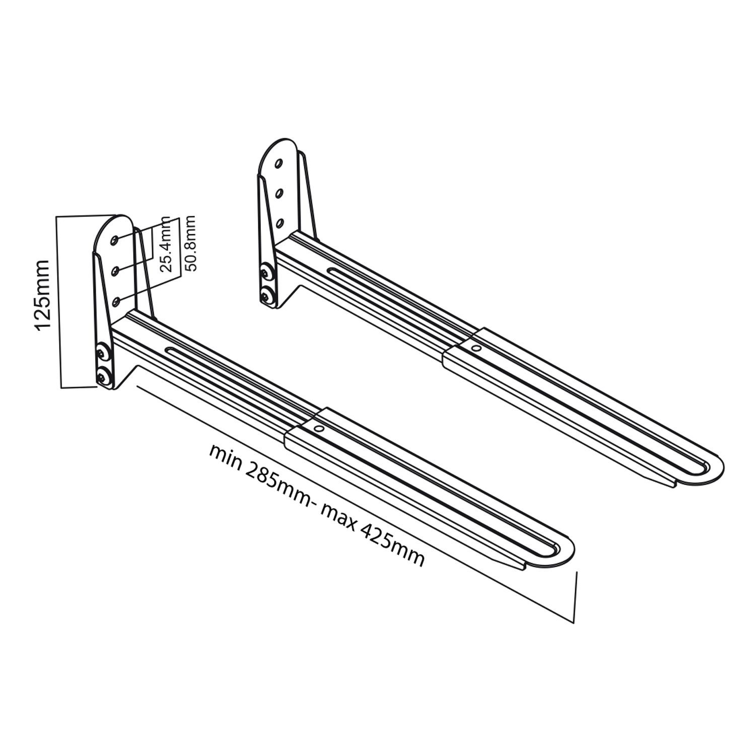 Levný univerzální držák na mikrovlnku, tiskárnu nebo A/V příslušenství. Nosnost 45kg, nastavitelná délka ramen, materiál ocel, barva černá - Fiber Mounts AX776B