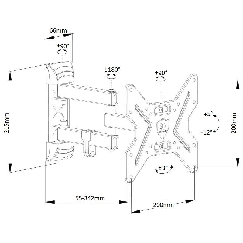 Otočný, sklopný, délkové nastavení, spolehlivý držák na televizi nebo monitor Ergosolid Ceros-R1
