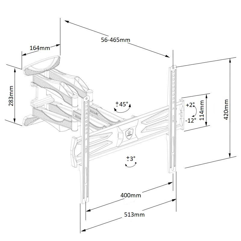 Plně nastavitelný designový držák na Tv pro zavěšení na zeď Ergosolid Ceros-R3