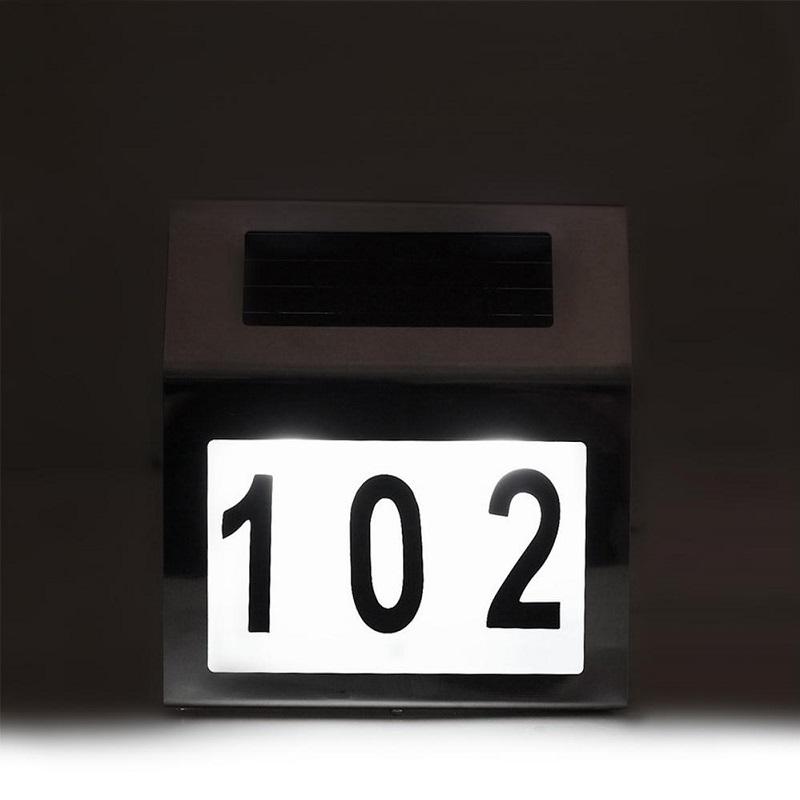 Podsvícené číslo popisné na dům, nerez, solární nabíjení - domovní číslo - Fiber Mounts MCE172