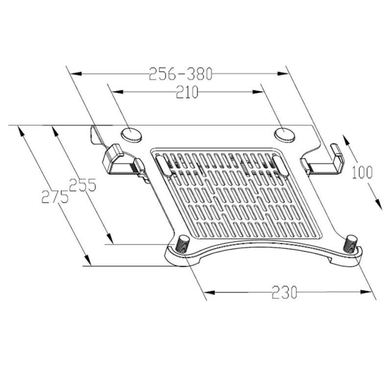 Polička pro bezpečné a spolehlivé uchycení noteboků a laptopů na stolní nebo nástěnné držáky - Ergosolid LT105