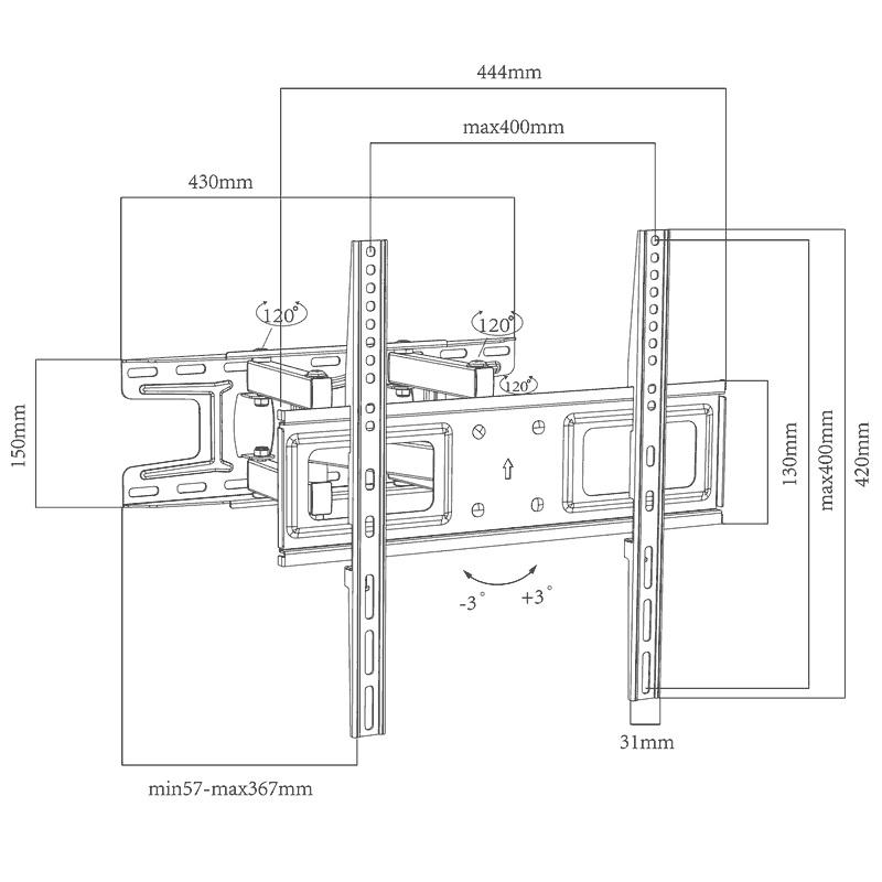 ErgoSolid REDOX-K35 levný přesto kvalitní polohovatelný nástěnný držák na televize - otočný, sklopný, délkově nastavitelný