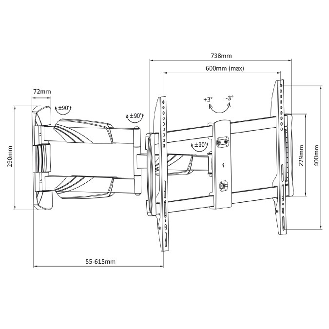 Fiber Mounts M8C33 pohyblivý držák Tv