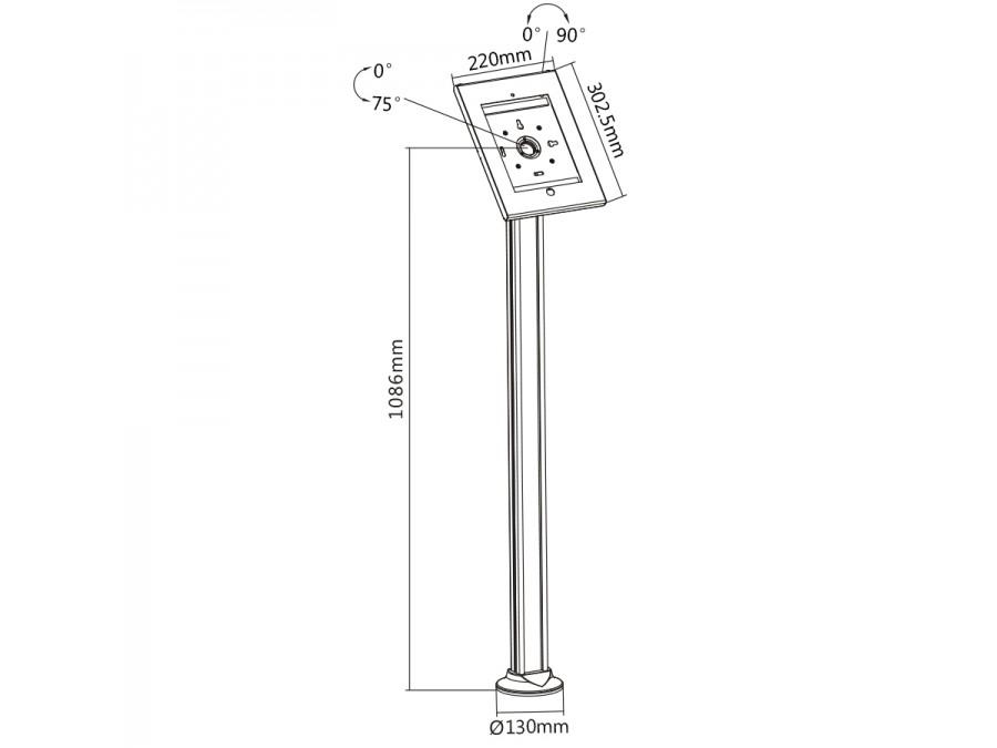Stojan / podstavec na tablety a iPady do 10,1 palců, uzamčení zařízení, ukotvení do podlahy, vedení kabeláže, hliníková konstrukce - Fiber Mounts 678B