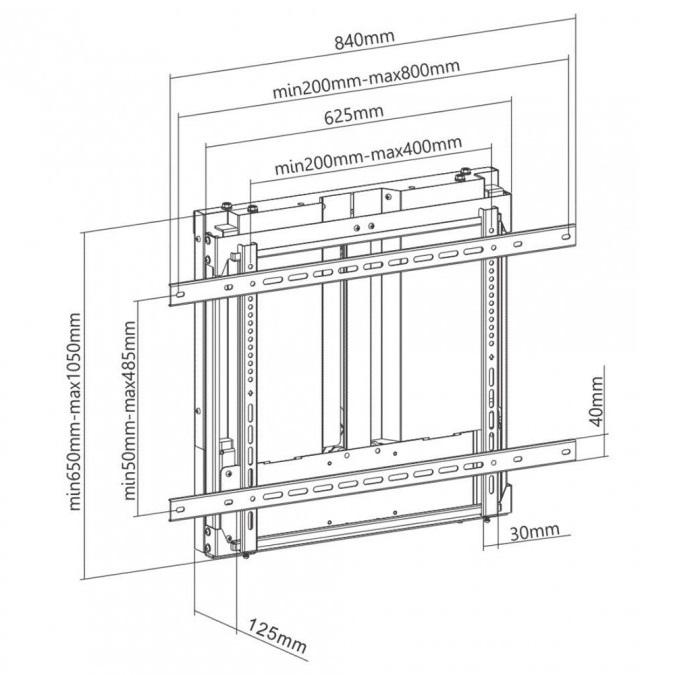 Nástěnný výškově polohovatelný motorizovaný držák na televize, monitory a interaktivní tabule Fiber Mounts M8C52