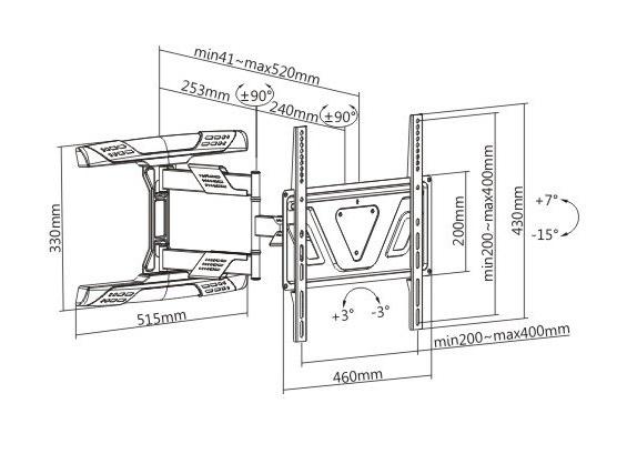 Polohovací držák na lcd led qled televize Fiber Mounts Super-1
