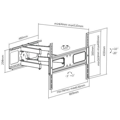 Otočný, sklopný a délkově nastavitelný držák Tv robustní a bezpečné konstrukce Fiber Mounts Prominent