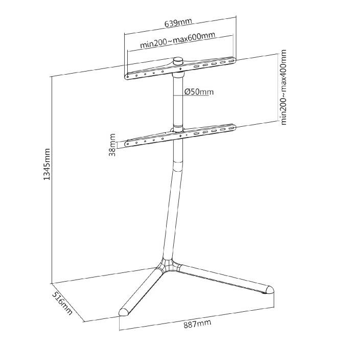 Fiber Mounts M8C68 chromový televizní stojánek stolek stojan