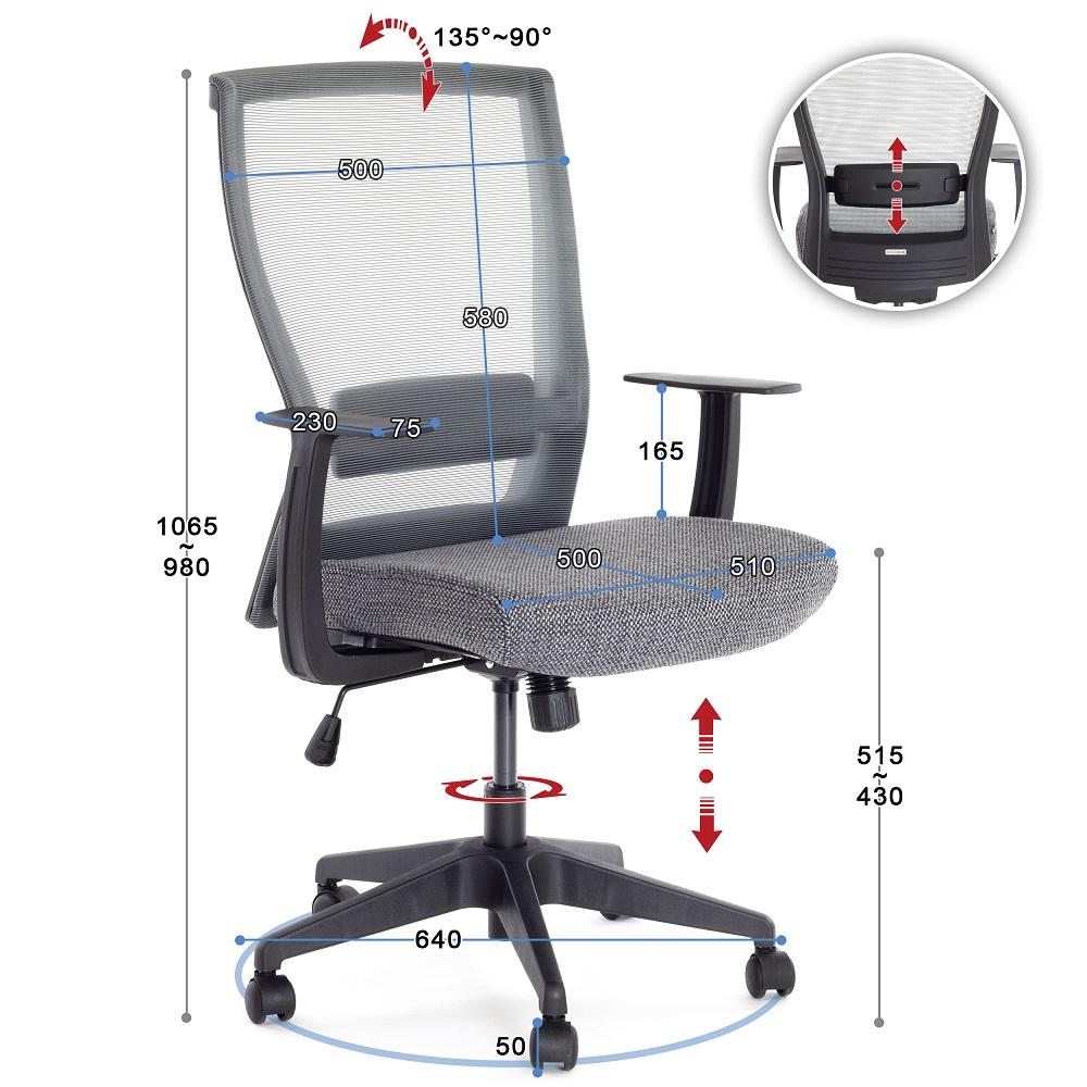 Židle do kanceláře, ergonomická, polohovací Ergosolid NELO-G šedá