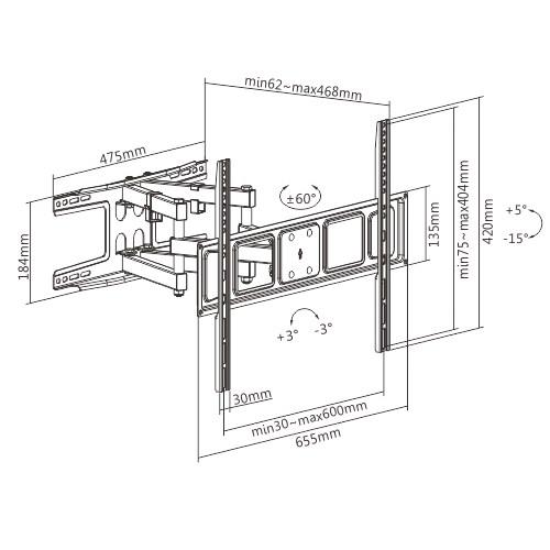 Dvojramenný držák Tv na zeď Fiber Mounts Solid-2