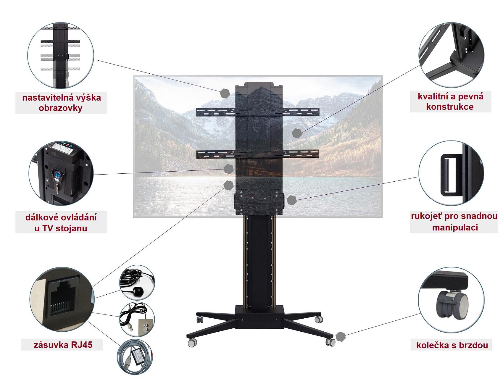 Pojízdný stojan TV Fiber Moutns Mobi-Lift s nastavitelnou výškou obrazovky