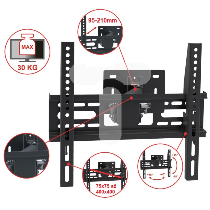 Fiber Mounts FM049 ocelový nástěnný držák s větší instalační plochou pro lepší uchycení na stěnu