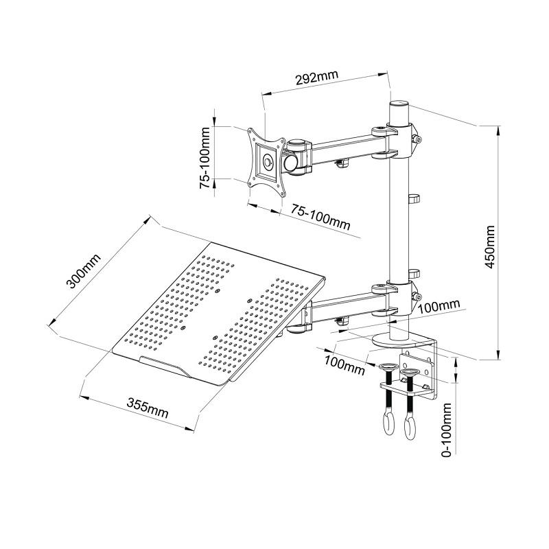 Fiber Mounts FM23 stolní pracovní stanice na notebook (laptop) a monitor