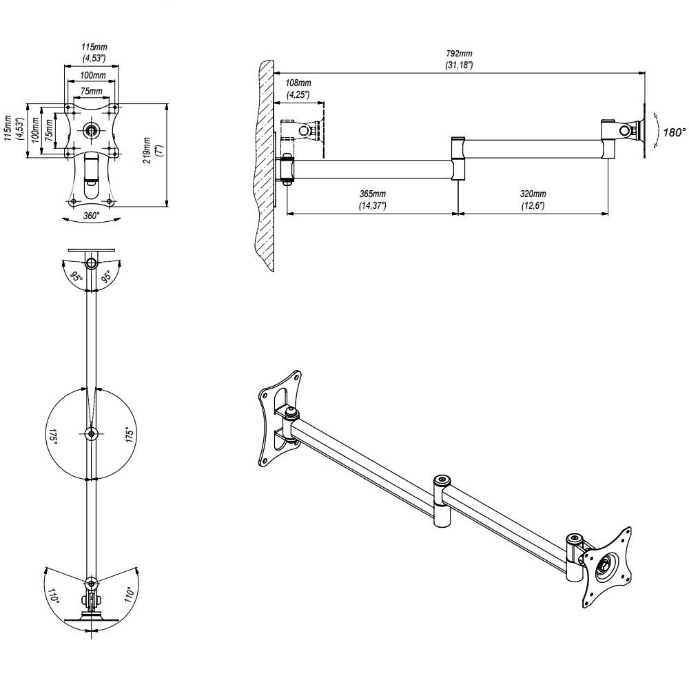 Držák Tv monitoru EDBAK GD18 / drzakyastolky.cz