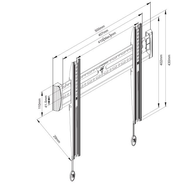 Fixní držák na televizory do 50 palců, top kvalita, vynikající cena - Fiber Mounts C2F