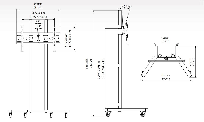 ed4c90651 Kompletní specifikace · Související zboží · Návod k montáži · Parametry. Televizní  stojan EDBAK TR1-PWB