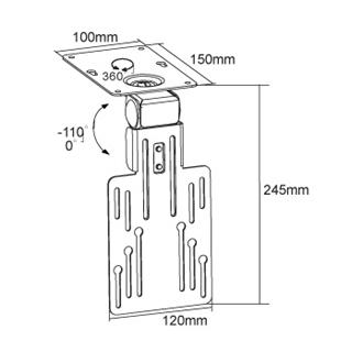 Speciální držák na televize a monitory pro uchycení do kuchyně na kuchyňskou linku nebo do auta karavanu na strop nebo do poličky - OMB Oyster