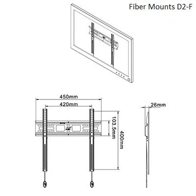 Rozměry držáku na stěnu Fiber Mounts D2-F