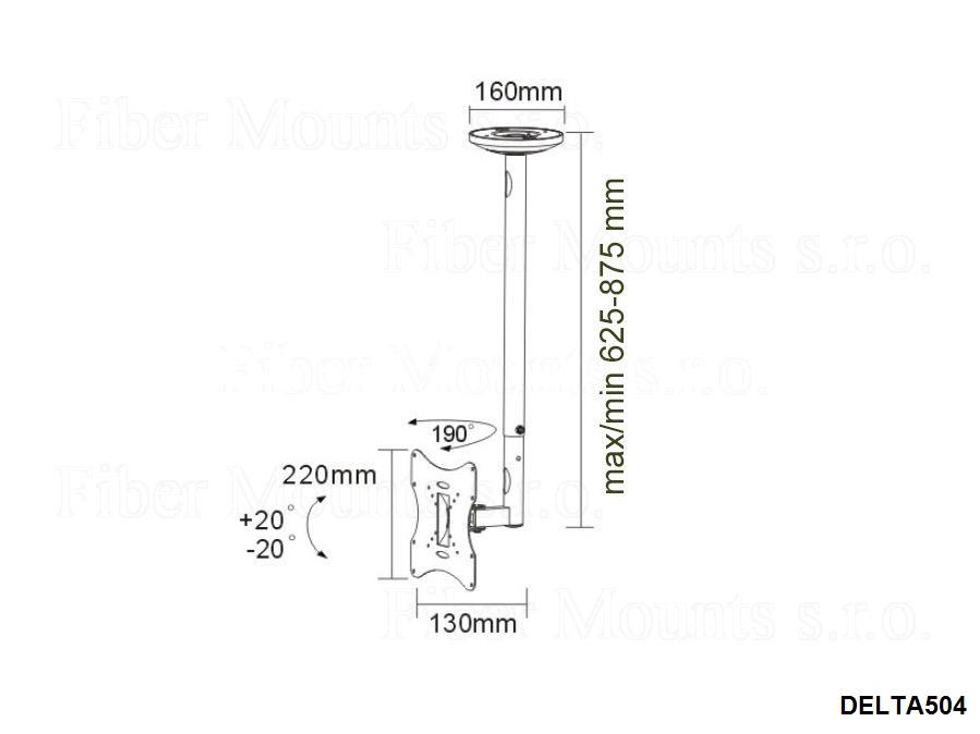 Stropní držák Tv do 107cm Fiber Mounts DELTA504 stříbrný