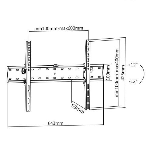 Televizní držák s naklápěním Fiber Mounts M6C68