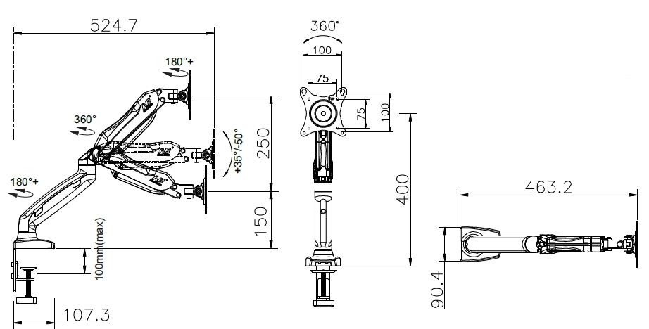 Držák monitoru s uchycením na stůl nebo vodorovnou plochu Fiber Mounts F80 / drzakylcd.cz