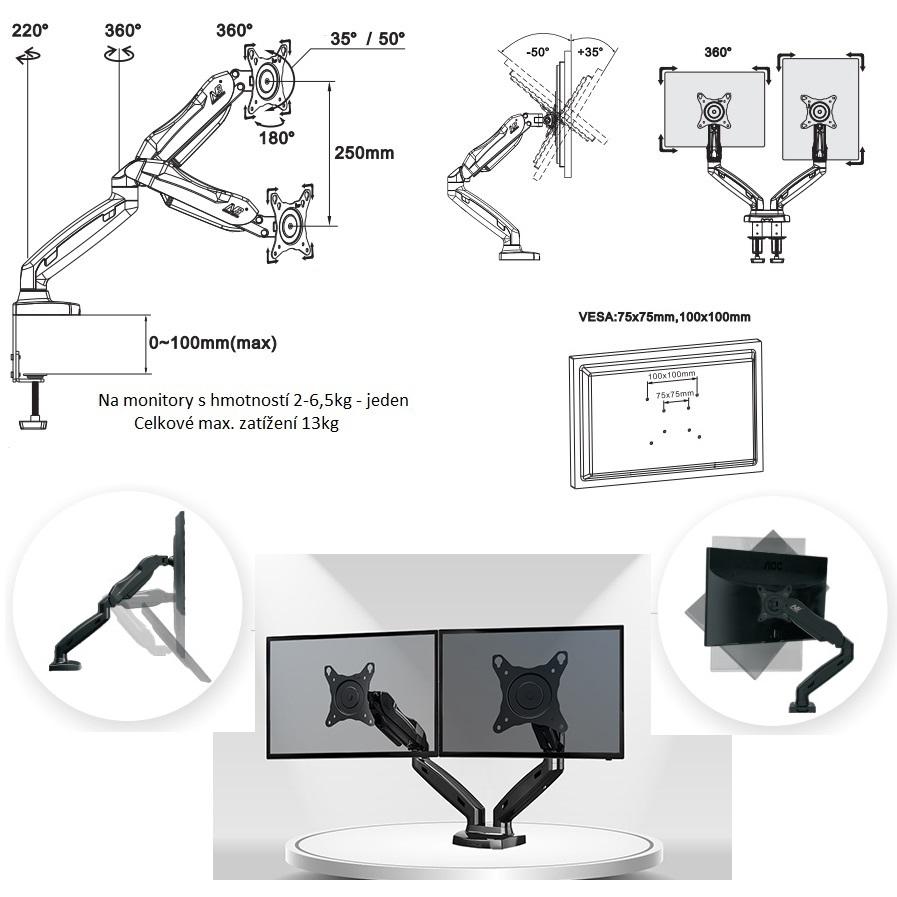 Držák na 2 PC monitory Fiber Mounts F160