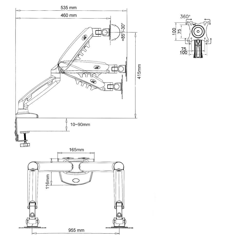 Kancelářský stolní držák pro zavěšení 2 monitorů Fiber Mounts F160