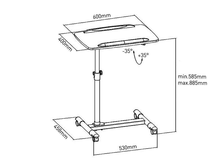 Rozměry stolku / vozíku / stojanu na projektor nebo notebook Fiber Mounts ST671