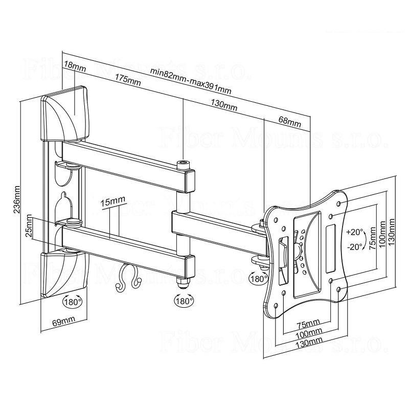 Fiber Mounts DELTA719 je levný ale kvalitní nástěnný držák na menší televize a monitory. Umužní Vám s obrazovkou otáčet do stran, naklápět ji a měnit vzdálenost od zdi. Podporuje VESA standard 75x75 a 100x100, můžete ho zatížit až 15kg.