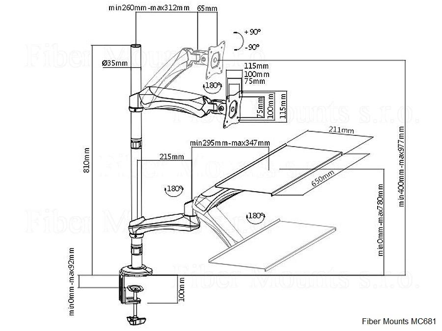 Stolní držák, díky kterému můžete kdykoliv pracovat na PC vestoje nebo vsedě. Záleží pouze na Vás - rychlé a snadné přenastavení držáku do potřebné pozice bez nářadí - Fiber Mounts MC681