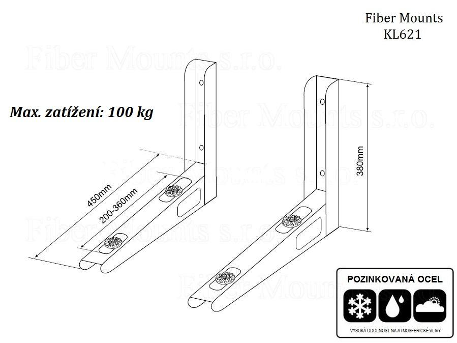 Nástěnný držák klimatizace - bezpečné zavěšení klimatizační jednotky - Fiber Mounts KL621