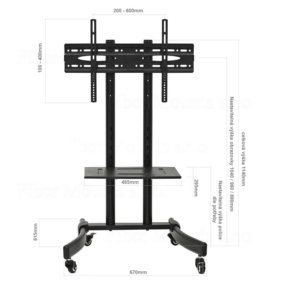 Kvalitní pojízdný stojan / vozík na televizi Fiber Mounts F73M9