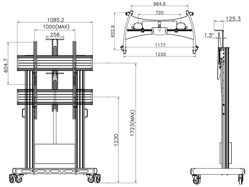 Motorizovaný profesionální televizní stojan na Tv 55-100 palců - Fiber Mounts TW100